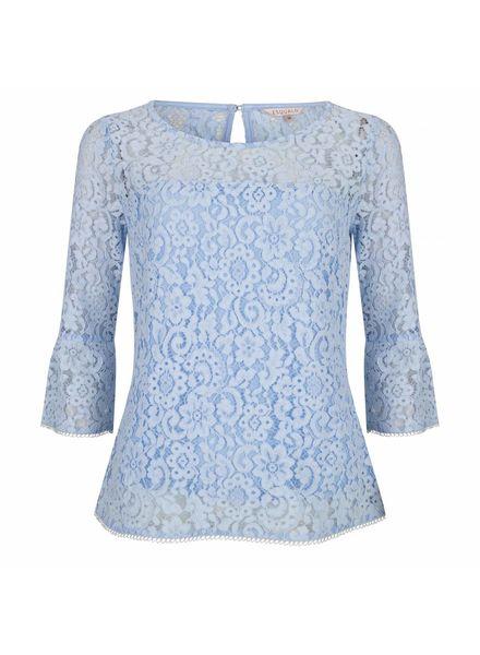 ESQUALO Blouse lace wide - Light blue