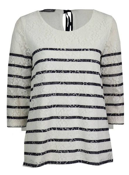 GEISHA Top 83108 - 000010 - off-white/navy