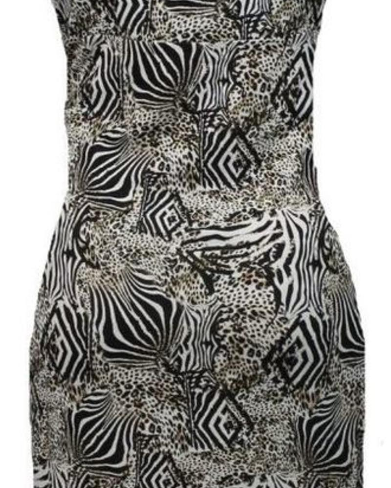 GEISHA Dress Spaghetti 87075 - 000009 - black/white animal
