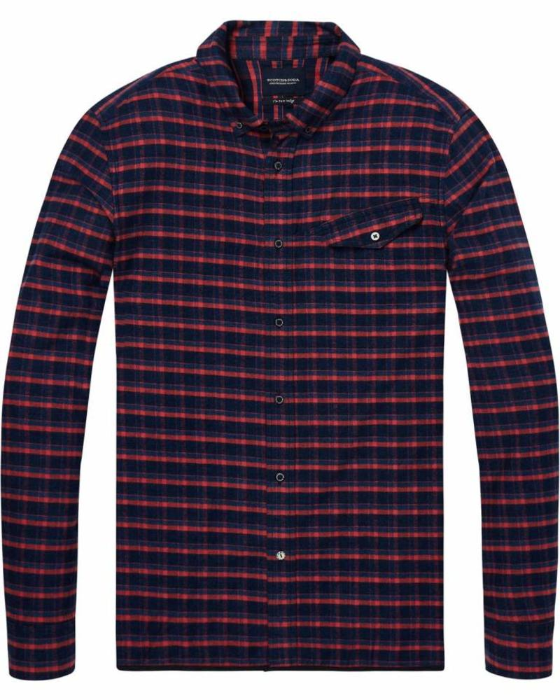 Scotch&Soda 144156-Ams Blauw regular fit pure indigo shirt in weaves and patter