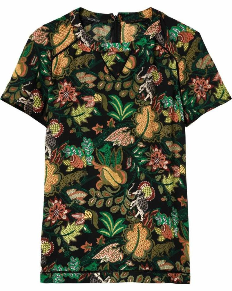 SCOTCH & SODA 146524 Short sleeve top with ladder inserts in various prints 0589