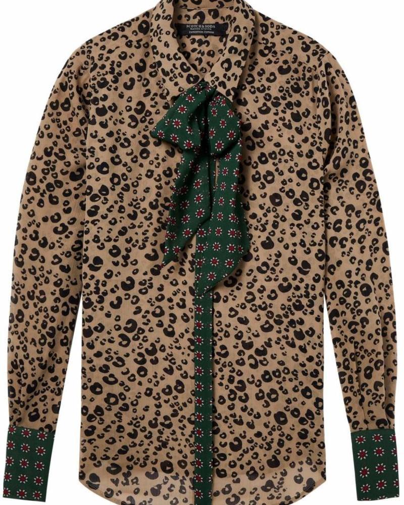SCOTCH & SODA 146339 Mixed print shirt with bow 17