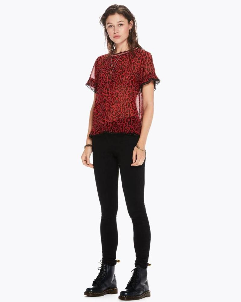 SCOTCH & SODA 146512 Mixed print top with rib neckline