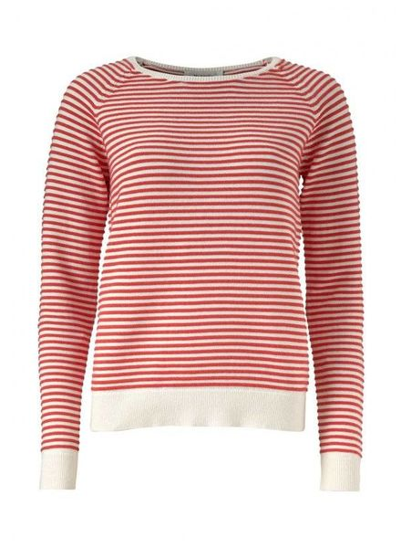 MODSTRÖM 53143 - Clarice stripe o-neck - Porcelain/Fire Red