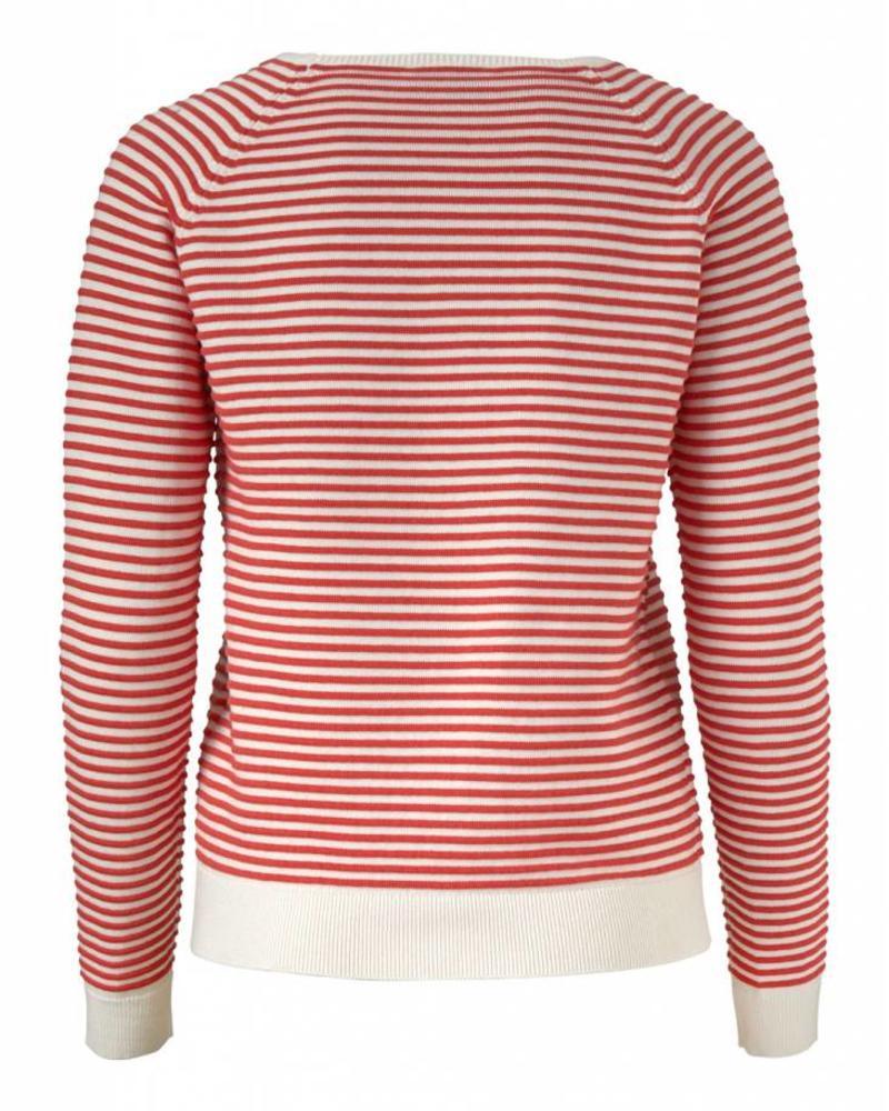 MODSTRÖM 53143 - Clarice stripe o-neck - Porcelain/Fire Red