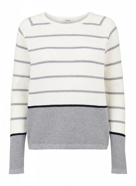 MODSTRÖM 52309 - Shelby stripe o-neck - Off White/Grey Melange