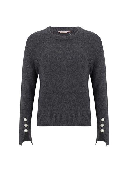 ESQUALO F18.03530 Sweater big pearl anthracite