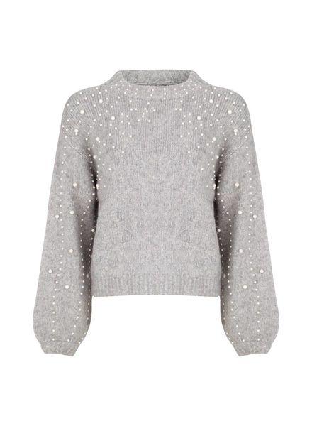 ESQUALO F18.07520 Sweater boxy pearls grey