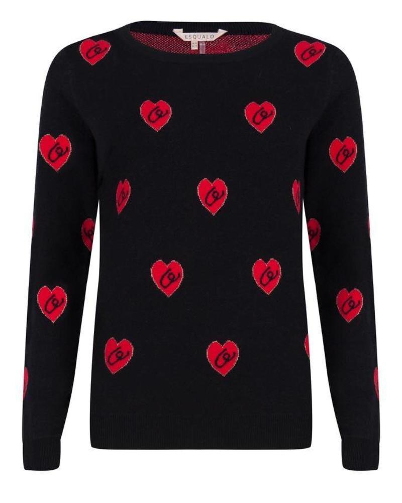 ESQUALO F18.02507 Sweater heart black