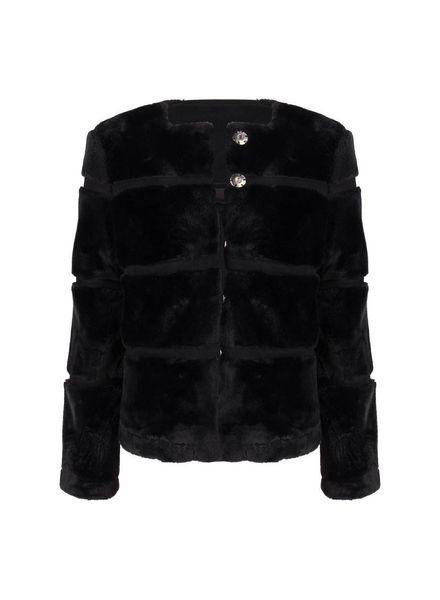 ESQUALO F18.28535 Jacket fake fur stripe black