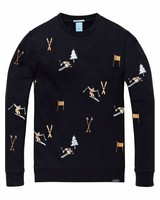 Scotch&Soda 145462 Crewneck sweat with all-over ski embroideries