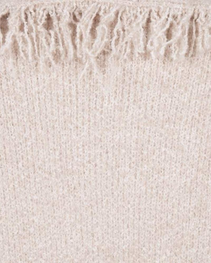 ESQUALO F18.02512 Cardigan fringes sand