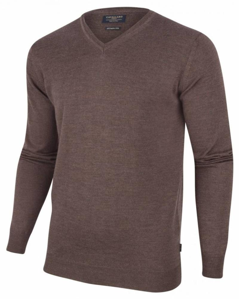 CAVALLARO 1885007 Merino V-neck Pullover Dark Brown