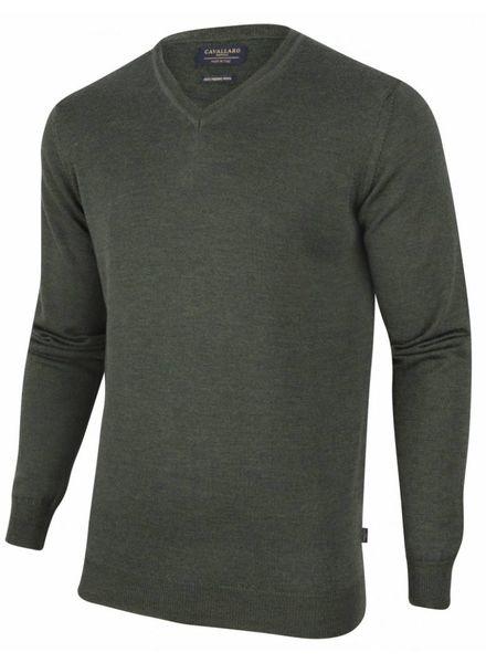 CAVALLARO 1885007 Merino V-neck Pullover Dark Green