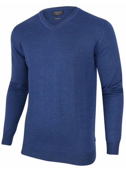 CAVALLARO 1885007 Merino V-neck Pullover Mid Blue