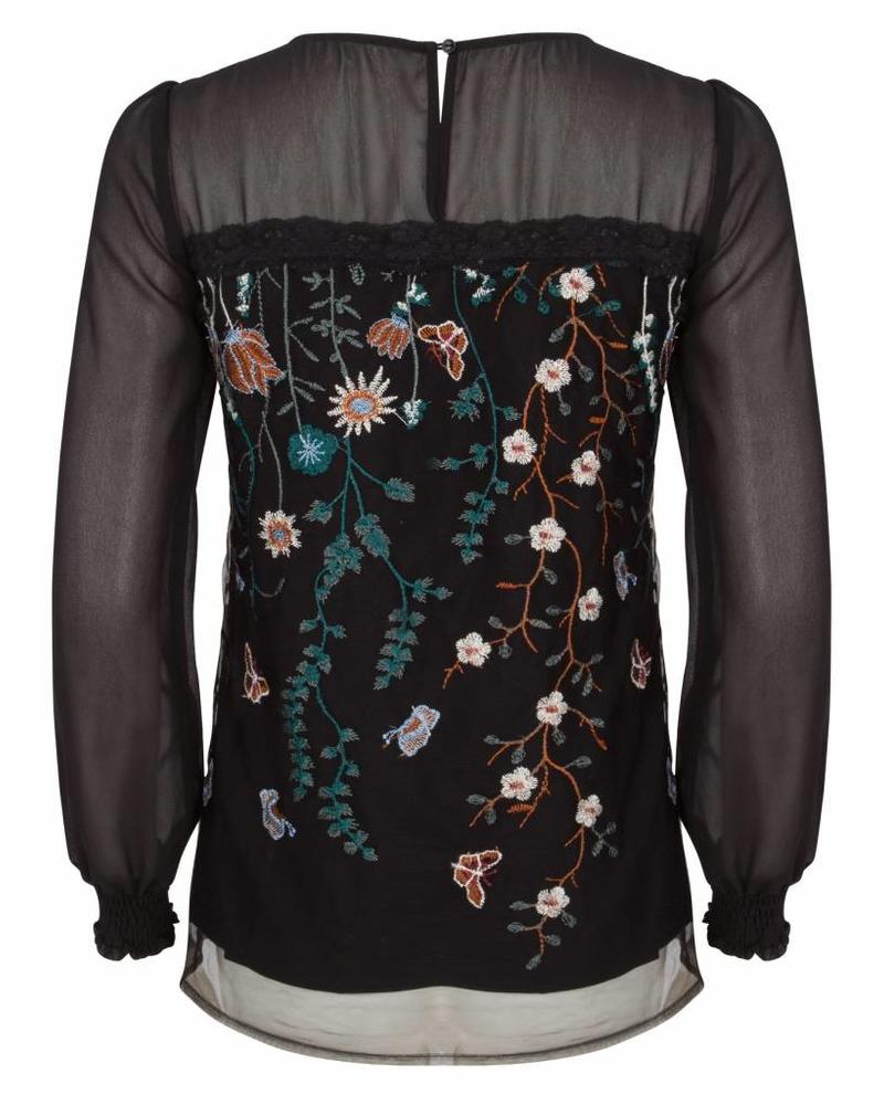 ESQUALO W18.32720 Blouse mesh flower black