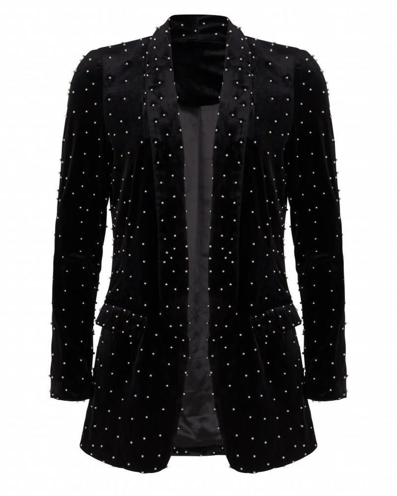 ESQUALO W18.28725 Blazer velvet beads black