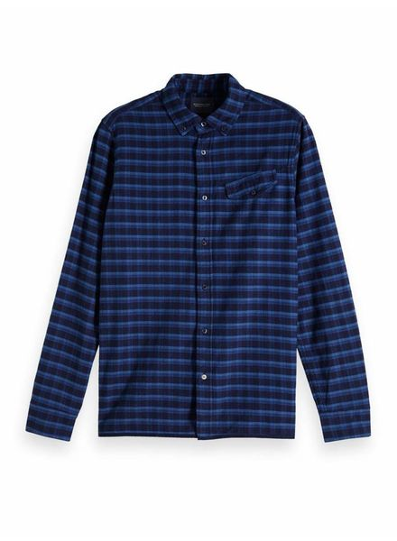Scotch&Soda 133271 REGULAR FIT Ams Blauw yarn dyed shirt in weaves and patterns