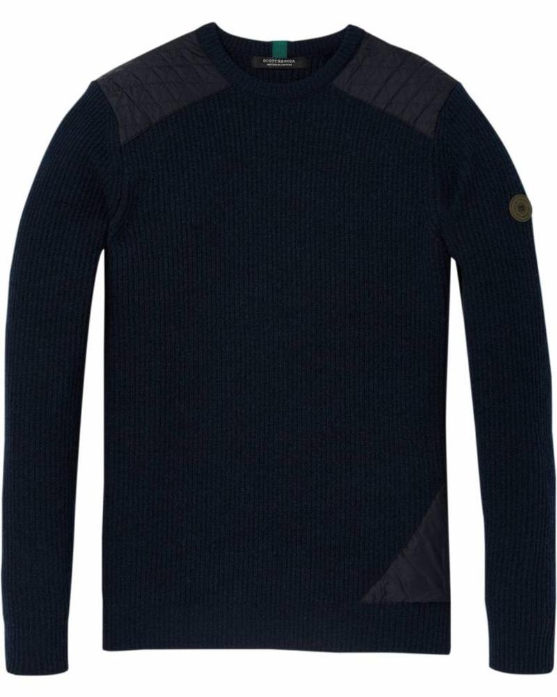 Scotch&Soda 145597 Pullover in rib knit structure with patched nylon details 2382