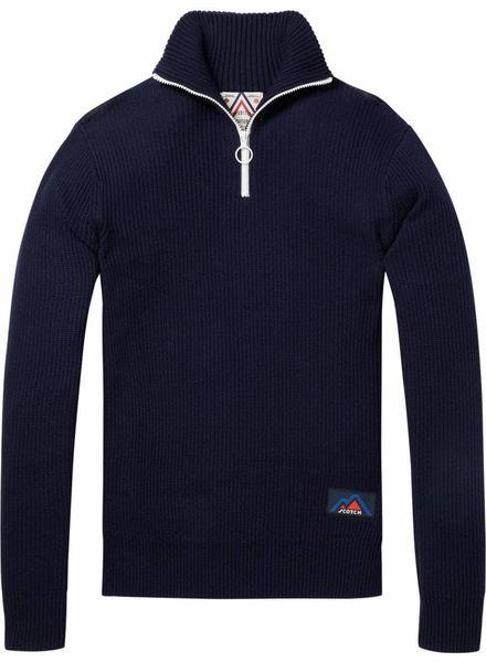 Scotch&Soda 145611 Retro-ski inspired half-zip pullover in rib knit