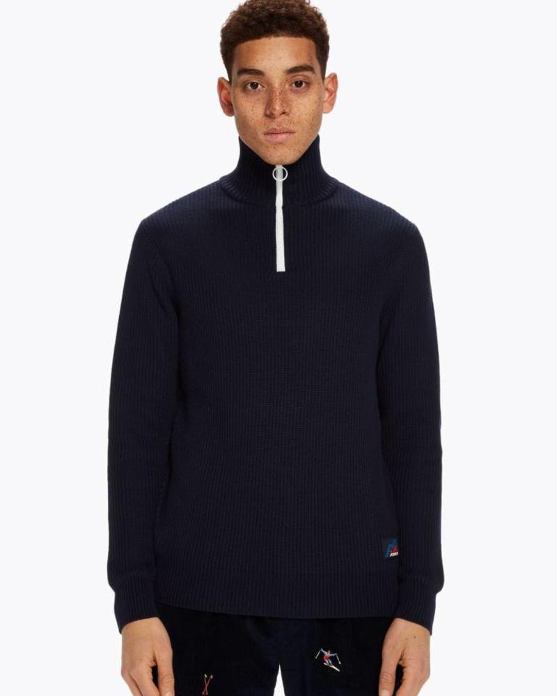 Scotch&Soda 145611 Retro-ski inspired half-zip pullover in rib knit