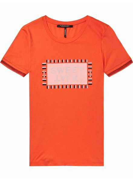 SCOTCH & SODA 146449 Crew neck tee with lurex ribs and various artworks
