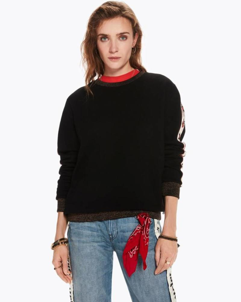SCOTCH & SODA 146391 Crew neck sweat with embroidered woven sleeve panels and lur