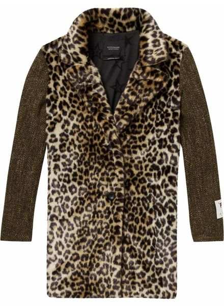 SCOTCH & SODA 146216 Faux fur coat with contrast wool sleeves