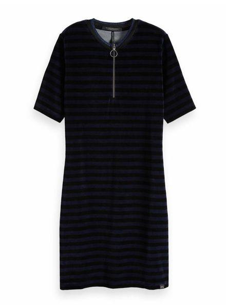 SCOTCH & SODA 146625 Short sleeve striped velour dress with lurex rib collar