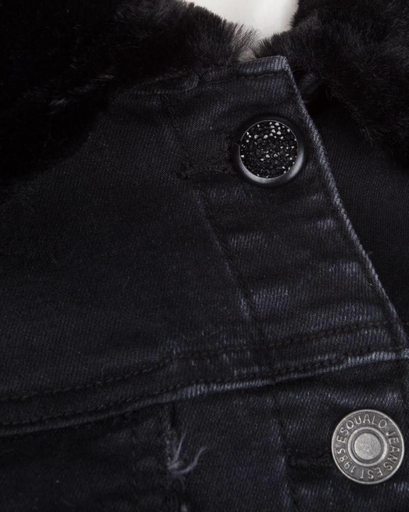 ESQUALO W18.12700 Jeans jacket fake fur black