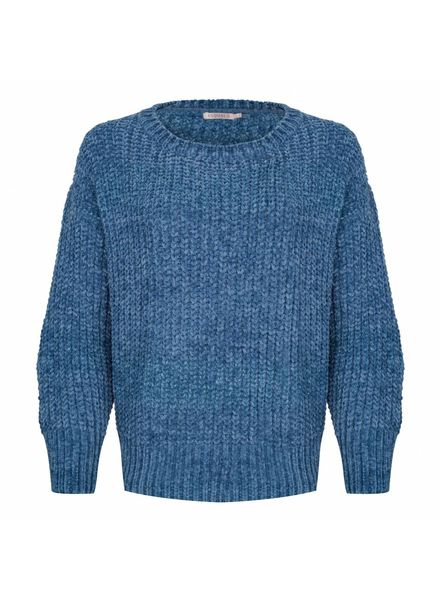 ESQUALO W18.02700 Sweater chenille lurex blue