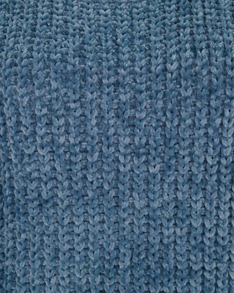 ESQUALO W18.02700 Sweater chenille lurex blue