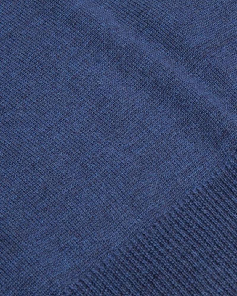 CAVALLARO 1885006 Merino Roll Neck Pullover Mid Blue