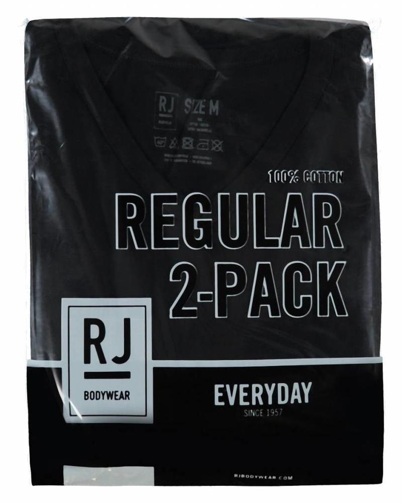 RJ BODYWEAR GOUDA REGULAR FIT THIN V-NECK 37-044 BLACK