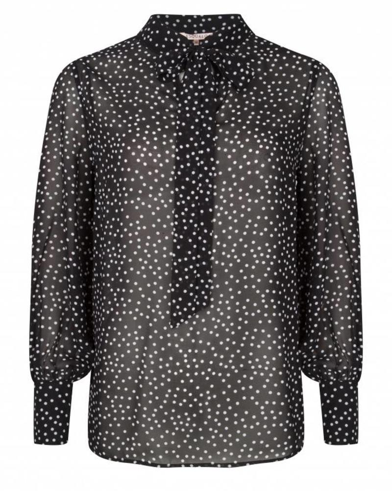 ESQUALO W18.14725 Blouse dots bow off white/black