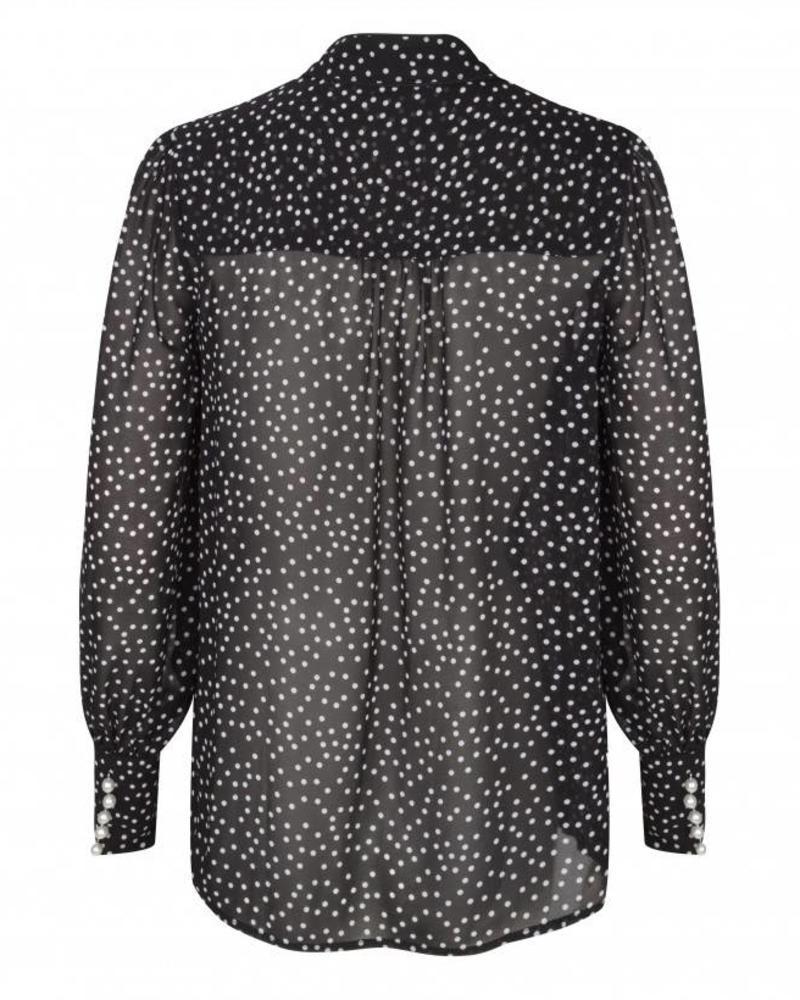 ESQUALO W18.14725 Blouse dots bow off white/black