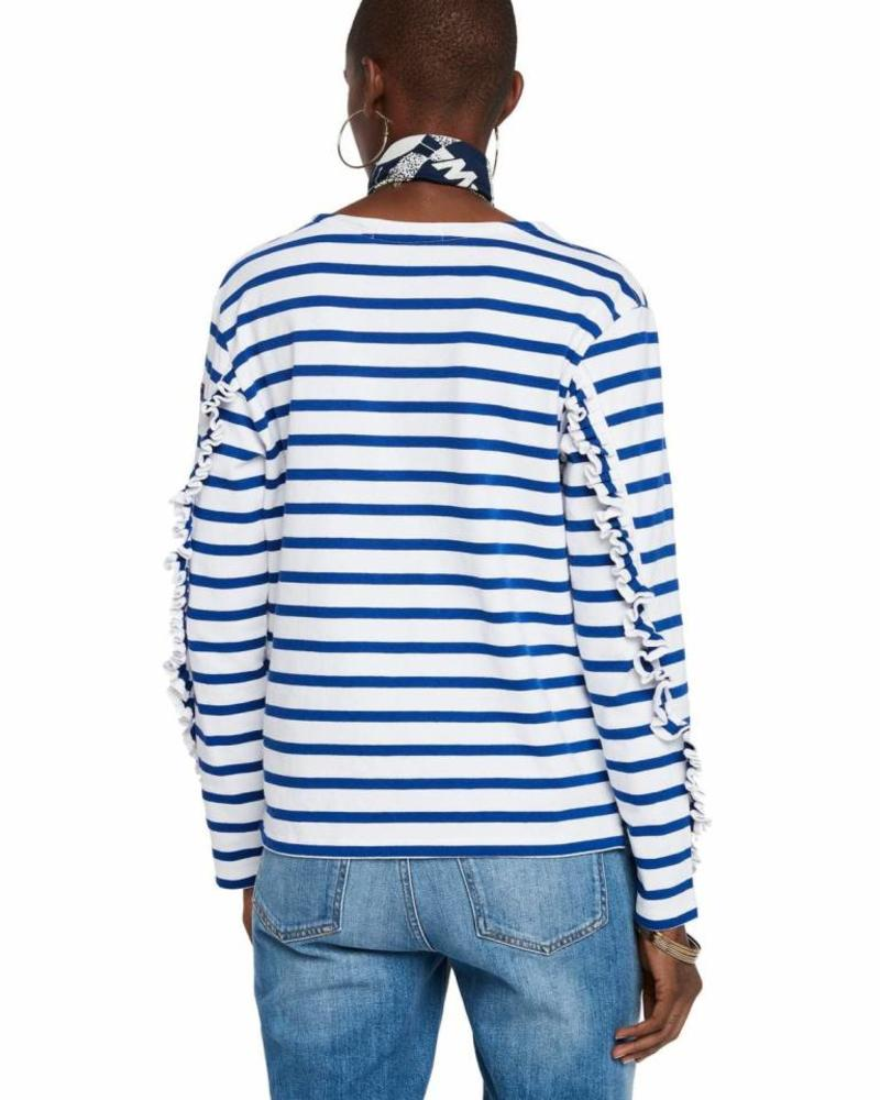 SCOTCH & SODA 147766 18 Classic breton tee with ruffles at the sleeves