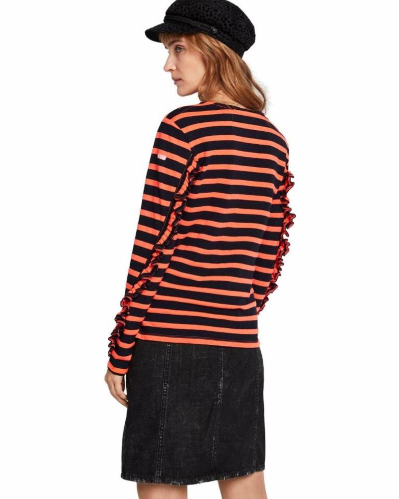 SCOTCH & SODA 147766 19 Classic breton tee with ruffles at the sleeves