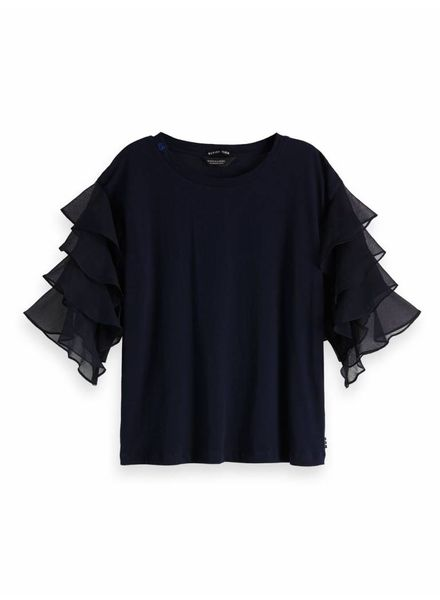 SCOTCH & SODA 148624 57 Long sleeve tee with woven ruffle sleeves
