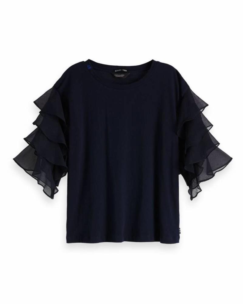 SCOTCH & SODA 148624 57 Long sleeve tee with woven ruffle sleeves