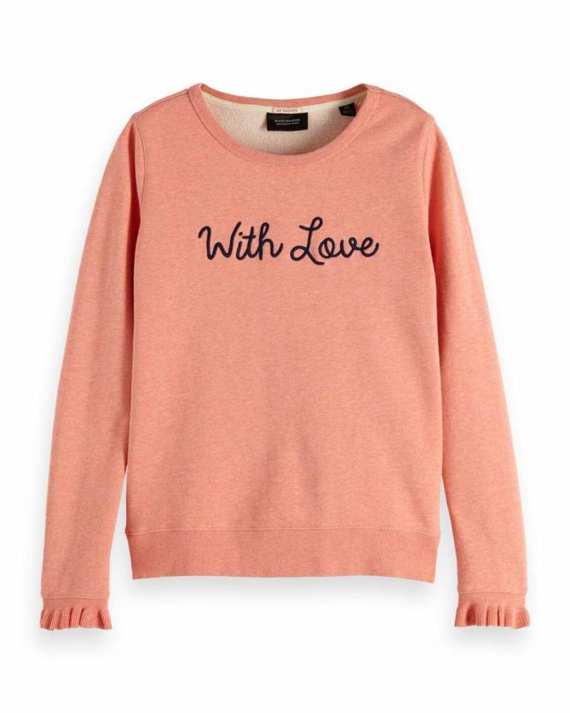 SCOTCH & SODA 148610 2684 Crew neck sweat with special cuff and embroidered artwork