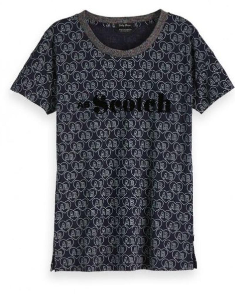 SCOTCH & SODA 147770 19 s/s tee with allover print and chest artwork
