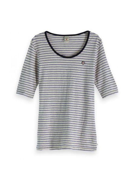 SCOTCH & SODA 147587 17 Classic striped tee with longer length short sleeve