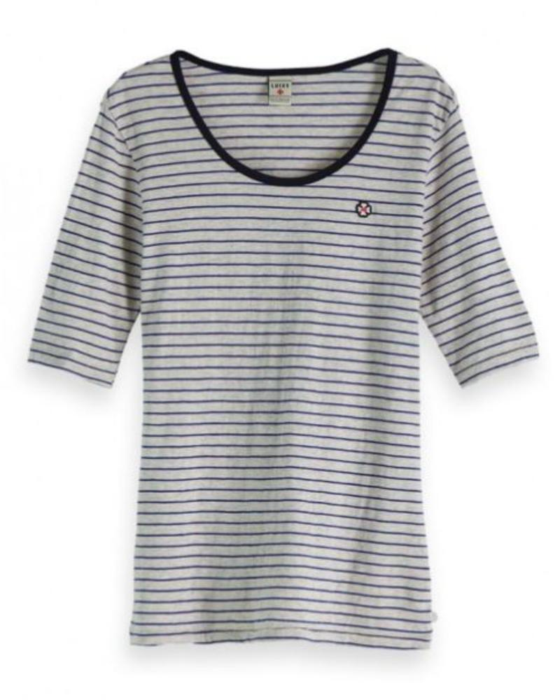 SCOTCH & SODA 147587 17 Classic striped tee with longer length short sleeve