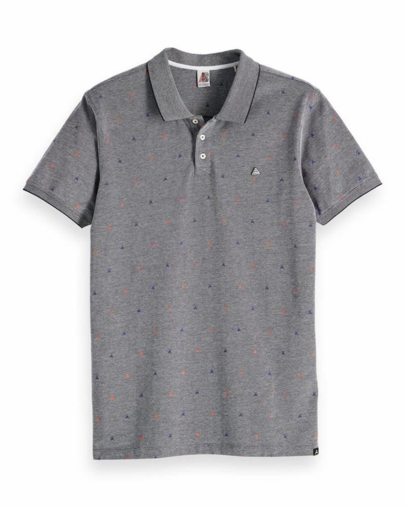 Scotch&Soda 148205 19 Ams Blauw polo shirt with allover print