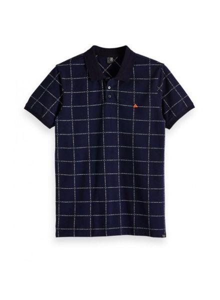 Scotch&Soda 148205 18 Ams Blauw polo shirt with allover print