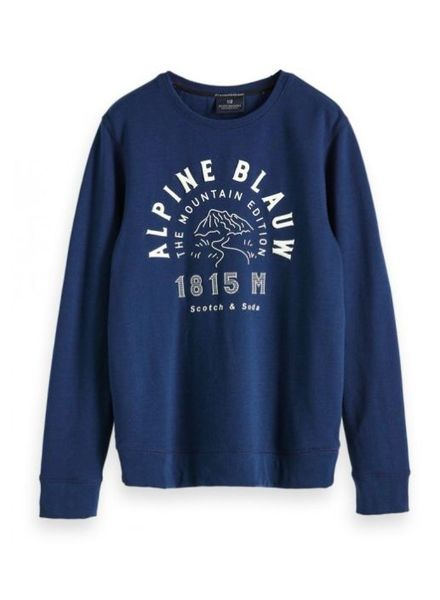 Scotch&Soda 147863 2525 Ams Blauw clean graphic crew neck sweat in regular fit