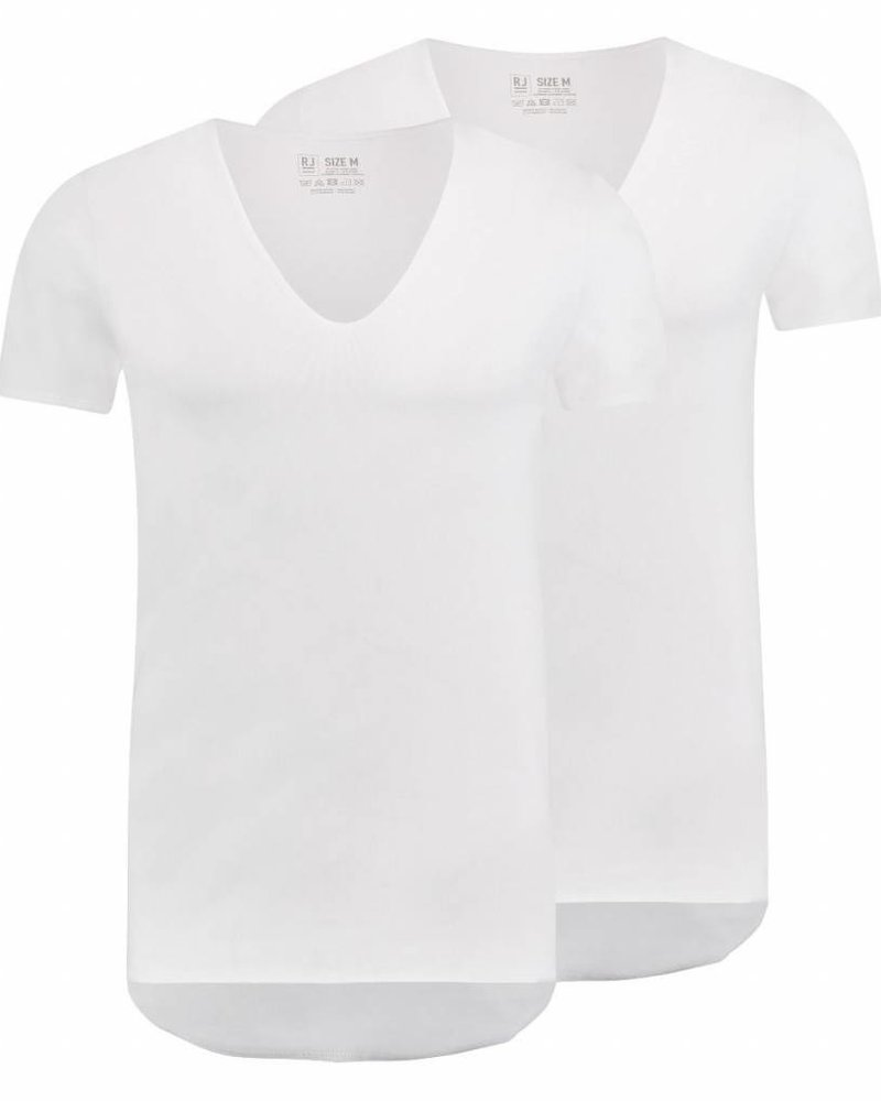 RJ BODYWEAR TILBURG BODY FIT RAW EDGE DEEP V 37-053 WHITE