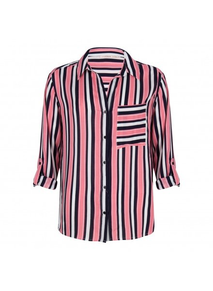 ESQUALO SP19.32008 Blouse stripes Pink/navy 9