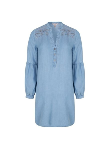 ESQUALO SP19.16000 Dress tencel embroidery Blue 600